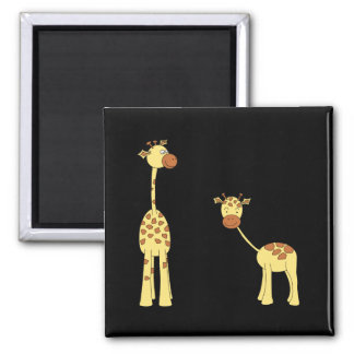 Adult and Baby Giraffe. Cartoon 2 Inch Square Magnet