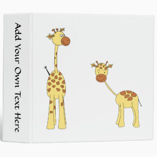 Adult and Baby Giraffe. Cartoon Binder