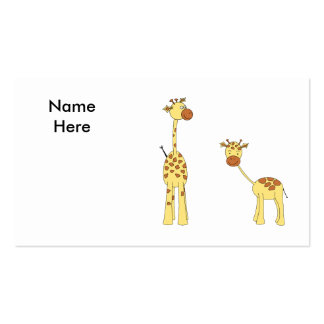 Adult and Baby Giraffe. Cartoon Double-Sided Standard Business Cards (Pack Of 100)
