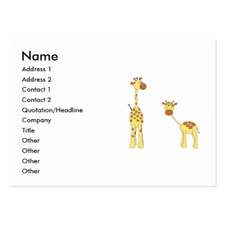 Adult and Baby Giraffe. Cartoon Business Card Templates