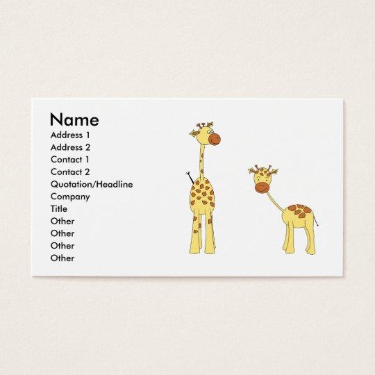 Adult and Baby Giraffe. Cartoon Business Card
