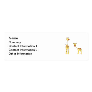 Adult and Baby Giraffe. Cartoon Double-Sided Mini Business Cards (Pack Of 20)