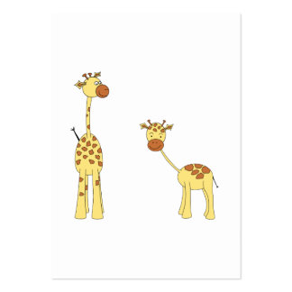 Adult and Baby Giraffe. Cartoon Large Business Cards (Pack Of 100)