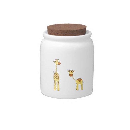 Adult and Baby Giraffe. Cartoon Candy Jar