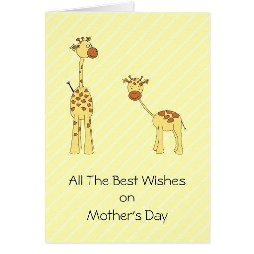 Adult and Baby Giraffe. Cartoon Card