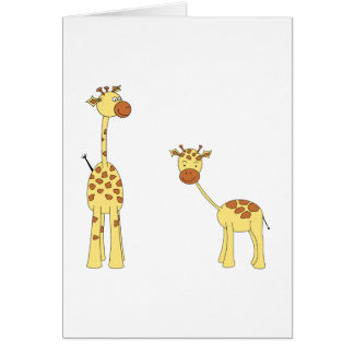 Adult and Baby Giraffe. Cartoon Cards