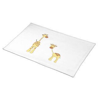Adult and Baby Giraffe. Cartoon Cloth Placemat