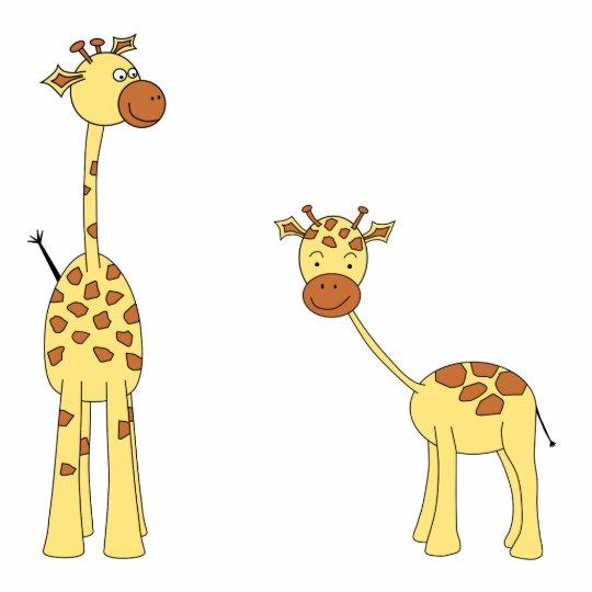 Adult and Baby Giraffe. Cartoon Cutout