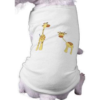 Adult and Baby Giraffe. Cartoon Pet T Shirt