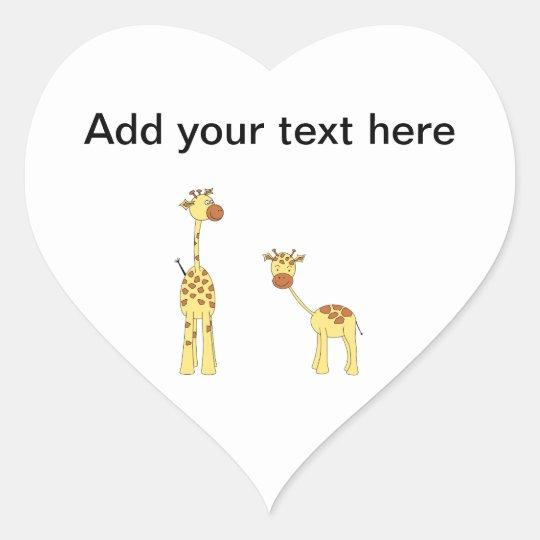 Adult and Baby Giraffe. Cartoon Heart Sticker
