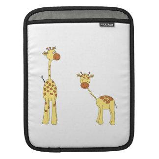 Adult and Baby Giraffe. Cartoon iPad Sleeve