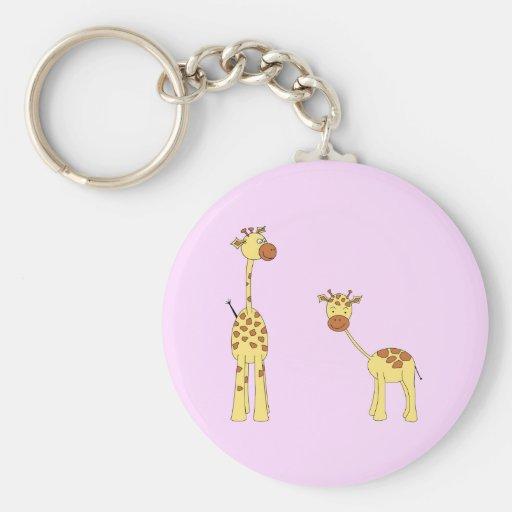 Adult and Baby Giraffe. Cartoon Keychains