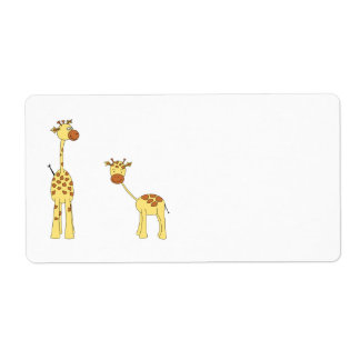 Adult and Baby Giraffe. Cartoon Label