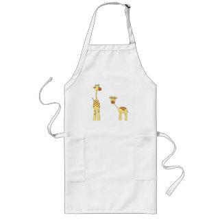 Adult and Baby Giraffe. Cartoon Long Apron