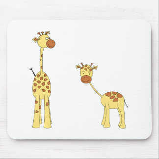 Adult and Baby Giraffe. Cartoon Mouse Pad