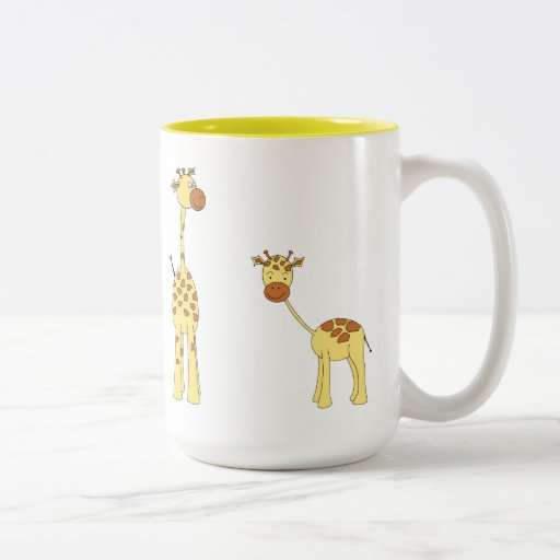 Adult and Baby Giraffe. Cartoon Coffee Mugs