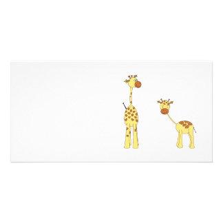 Adult and Baby Giraffe. Cartoon Photo Cards