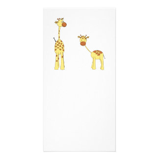 Adult and Baby Giraffe. Cartoon Personalized Photo Card