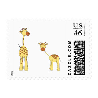 Adult and Baby Giraffe. Cartoon Stamps