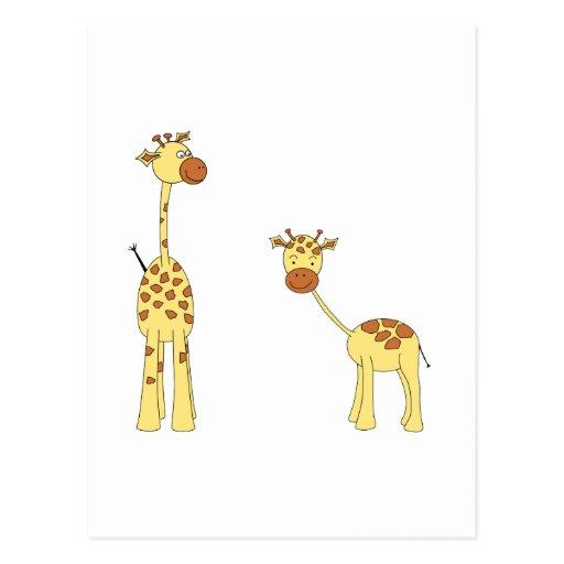 Adult and Baby Giraffe. Cartoon Postcard