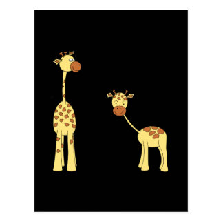 Adult and Baby Giraffe. Cartoon Postcards