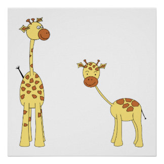 Adult and Baby Giraffe. Cartoon Poster