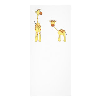 Adult and Baby Giraffe. Cartoon Full Color Rack Card