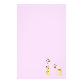 Adult and Baby Giraffe. Cartoon Stationery
