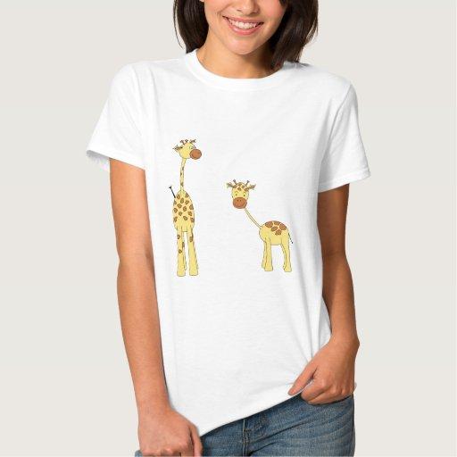 Adult and Baby Giraffe. Cartoon T-shirts