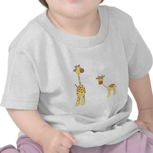 Adult and Baby Giraffe. Cartoon Tees