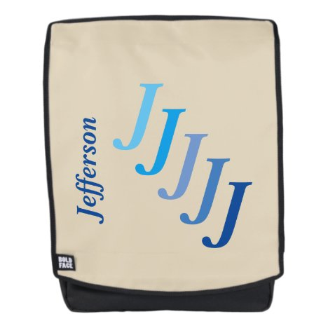 Adult Backpack - Name and Initial in Blues