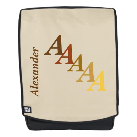 Adult Backpack - Name and Initial in Browns