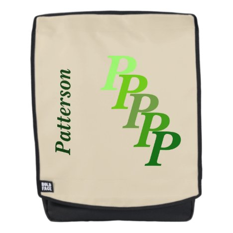 Adult Backpack - Name and Initial in Greens