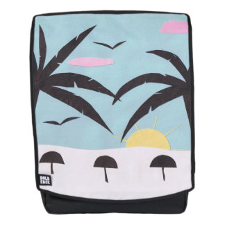 Adult Backpack with Silhouetted Beach Design
