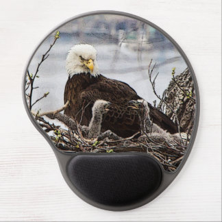 Adult Bald Eagle with eaglets Gel Mouse Pad