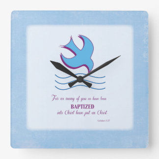 Adult Baptism Dove on Blue Wall Clock