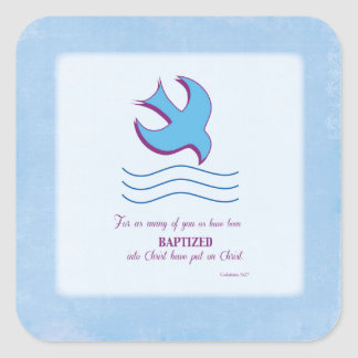 Adult Baptism Dove on Blue Square Sticker