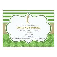 Adult birthday invitation golf green gold