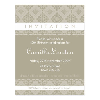 ADULT BIRTHDAY INVITATION :: ornately patterned L2 Post Cards