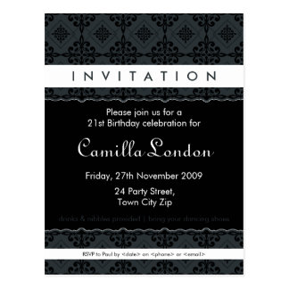 ADULT BIRTHDAY INVITATION :: ornately patterned L3 Post Cards