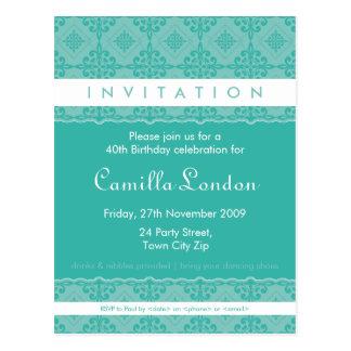 ADULT BIRTHDAY INVITATION :: ornately patterned L4 Postcard