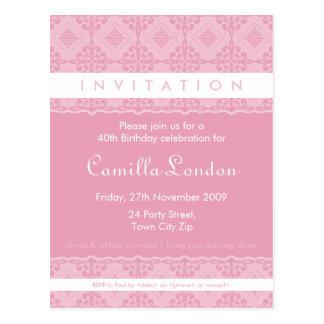 ADULT BIRTHDAY INVITATION :: ornately patterned P8 Post Cards