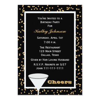 Adult Birthday Party Black and Gold Cheers 5x7 Paper Invitation Card