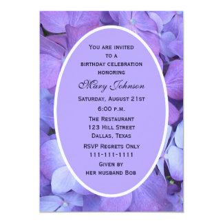 Adult Birthday Party Invitations -- Hydrangea Custom Announcements