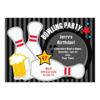 Adult Bowling Party 5x7 Paper Invitation Card