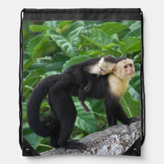 Adult Capuchin Monkey Carrying Baby On Its Back Drawstring Bag