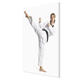 adult caucasian female martial arts expert in canvas print