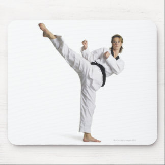 adult caucasian female martial arts expert in mouse pad