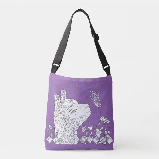 Adult Coloring Alpaca Butterfly DIY Cross Body Bag