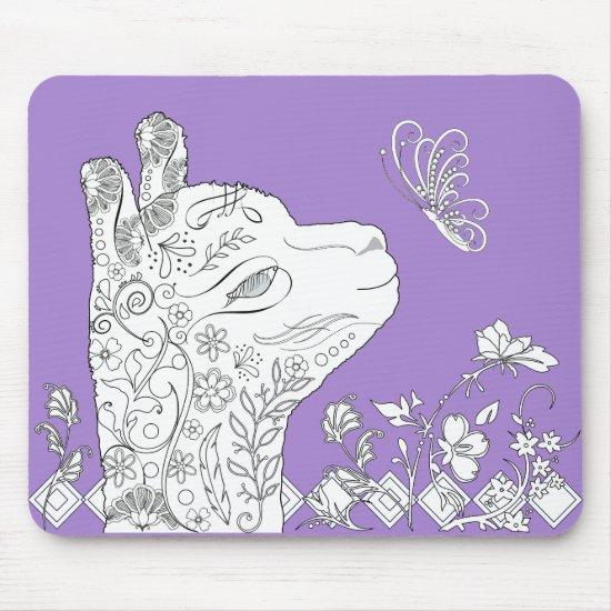 Adult Coloring Alpaca Butterfly DIY Mousepad
